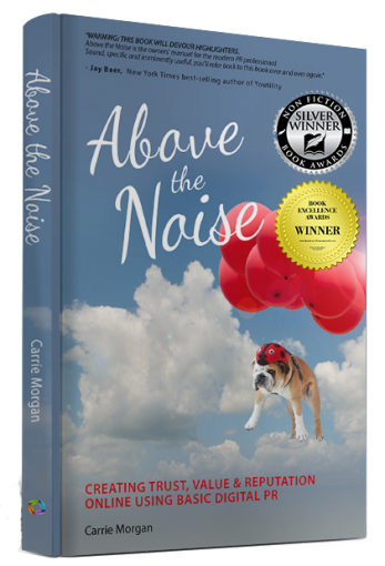 Above The Noise by Carrie Morgan - award-winning digital public relations book