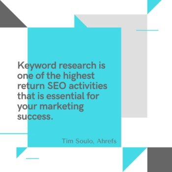 Keyword research highest return SEO activities